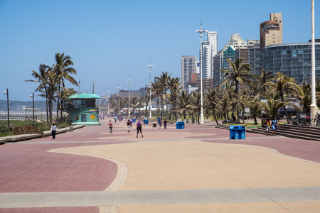 DURBAN, SOUTH AFRICA - NOVEMBER =2, 2017: People are walking on the Bay of plenty promenade. Editorial