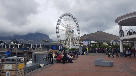 CAPE TOWN, SOUTH AFRICA- NOVEMBER 22, 2017: View of the harbor with ferris wheel