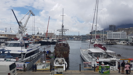 CAPE TOWN, SOUTH AFRICA- NOVEMBER 22, 2017: View of the harbor with sightseeing boats Editorial
