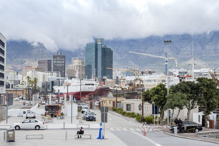 CAPE TOWN, SOUTH AFRICA- NOVEMBER 22, 2017: View of the harbor with skyscraper in the background