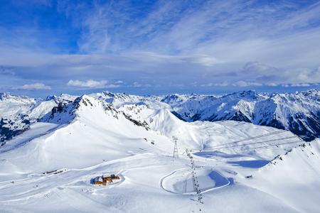 Davos mountains skiing resort switzerland from above