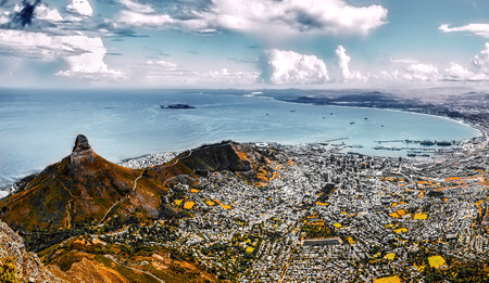 Colorized version of Cape town with view from table mountain.