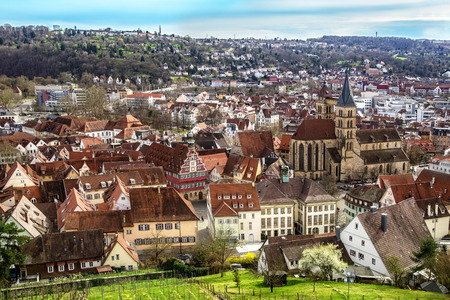 Medieval city Esslingen in Germany from above. Shot has been taken from the fortress Esslingen, which is the landmark of the town. Editorial