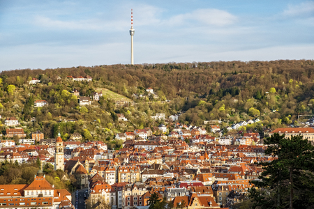 View of Stuttgart, Germany, from viewpoint Karlshoehe Stok Fotoğraf