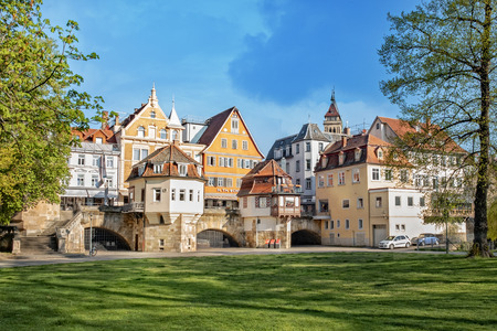 ESSLINGEN, GERMANY - APRIL 17, 2018: The photo shows the medieval town Esslingen in Germany with inner bridge. Editorial