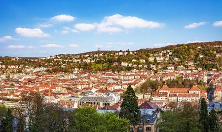 Panorama shot of Stuttgart, Germany, from viewpoint Karlshoehe