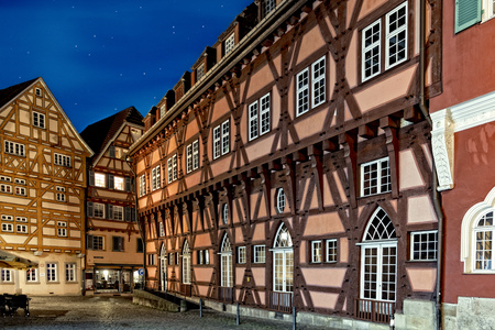 The photo shows the picturesque medieval old town of Esslingen at the Neckar river