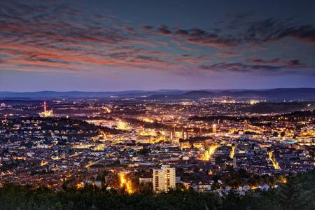 Evening shot of Stuttgart, Germany, taken from Birkenkopf view point. Stock Photo