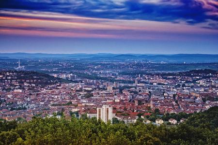 Stuttgart, Germany, at dawn, taken from Birkenkopf view point.
