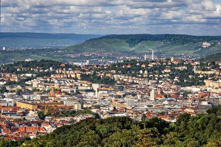 View over Stuttgart, Germany from viewpoint Birkenkopf