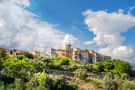 Picturesque shot of the historic village Castelnuovo at the Cilento national reserve in Italy.