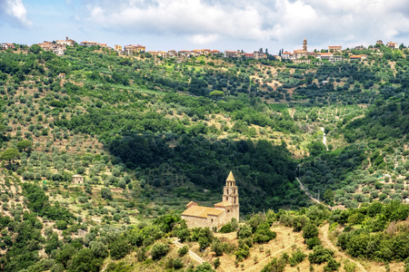 Picturesque shot of a historic village at the Cilento national reserve in Italy. Stock Photo
