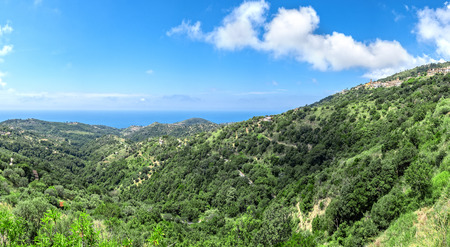 Panorama of Cilento national park in Italy with mediterranean sea in the background Stock Photo