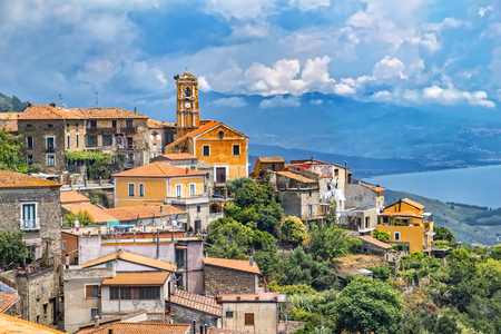 Picturesque shot of historic village Pollica at the Cilento national reserve in Italy. The background shows the coastline of the mediterranean sea. Reklamní fotografie