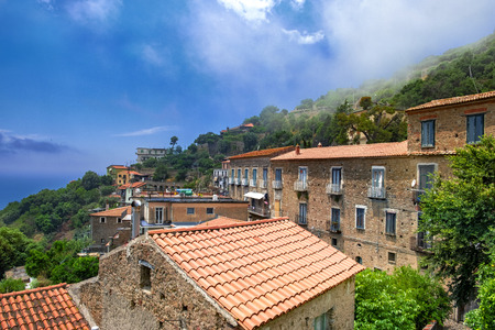 View of the historic village Pollica in the Cilento national park, Italy.