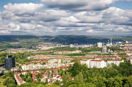 View over Stuttgart, Germany from Killesberg tower.