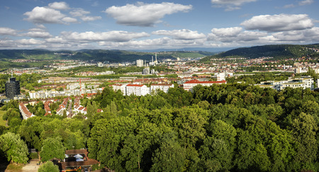 Panorama of Stuttgart, Germany, from above.