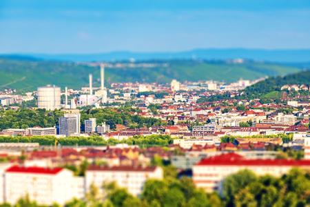 View over Stuttgart, Germany with tilt shift effect