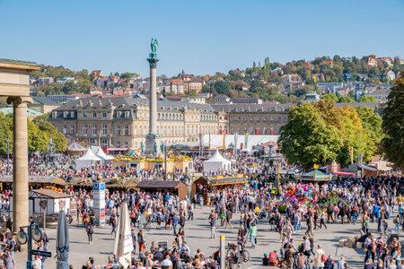 STUTTGART, GERMANY - SEPTEMBER 30, 2018: Opening of the Stuttgart Cannstadter Wasen festival at the castle place.