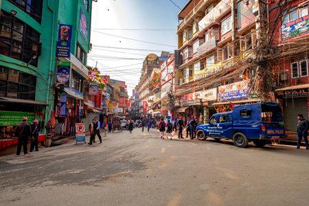 KATHMANDU NEPAL, NOVEMBER 18, 2018 - Crowdy shopping street with police patrol in Thamel, district of Kathmandu, Nepal. Editorial