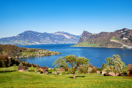 View over Lake Lucerne with Buergenstock and Weggis