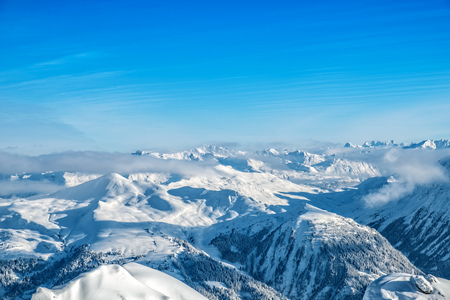 Beautiful snow covered mountains of the Arosa skiing region in Switzerland Stok Fotoğraf