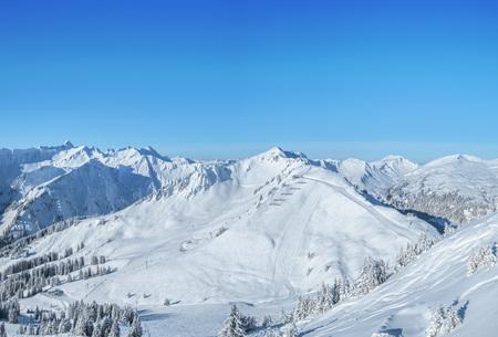 Panorama photo of  the Kleinwalsertal skiing region in Austria Фото со стока