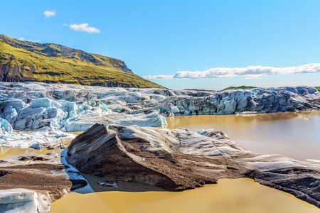 Svinafellsjoekull glacier ice drifting into the sea. Фото со стока
