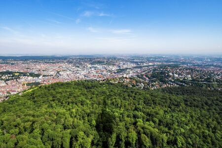 View over Stuttgart, Germany, capital of Baden-Wuerttemberg with shadow of the television tower.