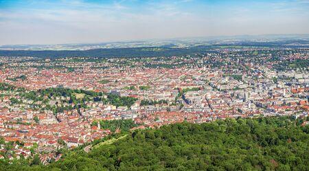 Widescreen view of Stuttgart, Germany, capital of Baden-Wuerttemberg.