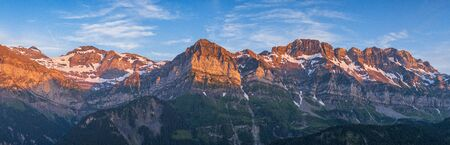Impressive panorama of the Dents du Midi mountain massif Portes du Soleil in Switzerland