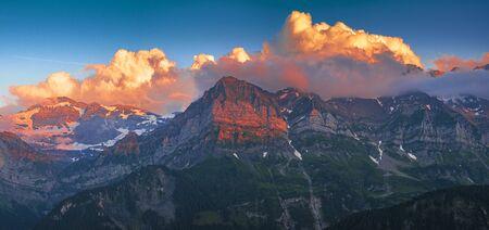 Impressive sundown at the Dents du Midi mountain massif Portes du Soleil in Switzerland