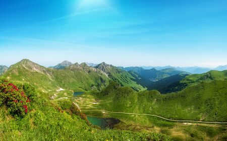 Beautiful panorama shot of the Portes du Soleil mountains in the french alps Фото со стока