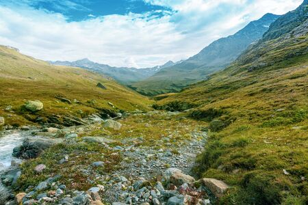 Beautiful mountain highland of the district valfurva in the italian alps.