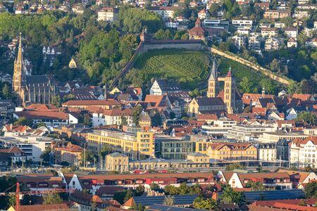 Top view shot of Esslingen at the Neckar in Germany