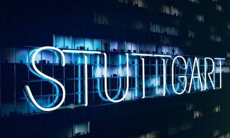 3d Illustration of a Stuttgart neon sign illuminating fictitious night facade.