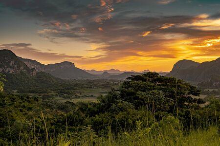 Wonderful Vinales valley in Cuba at sunrise