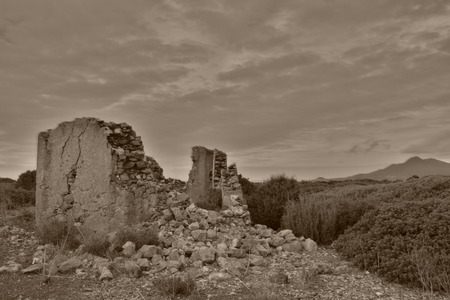 clody sky: ruin in black and white Stock Photo