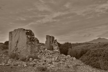 clody: ruin in black and white Stock Photo