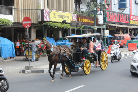 Delman (A Traditional Horse Carriage transportation in Indonesia) at Malioboro, Yogyakarta, Indonesia Editöryel