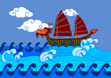 Chinese dragon boat on sea