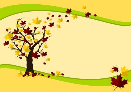 fall landscape: Autumn Background Vector Illustration