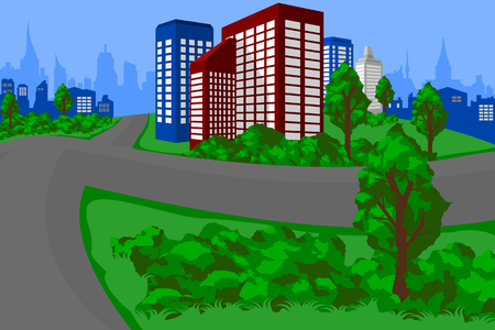 city landscape: Green City Landscape Illustration