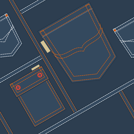 jeans pocket: Jeans Pocket Seamless Pattern Illustration