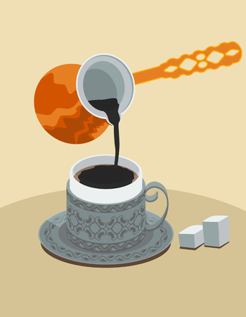 mediterranian style: Turkish Coffee Illustration