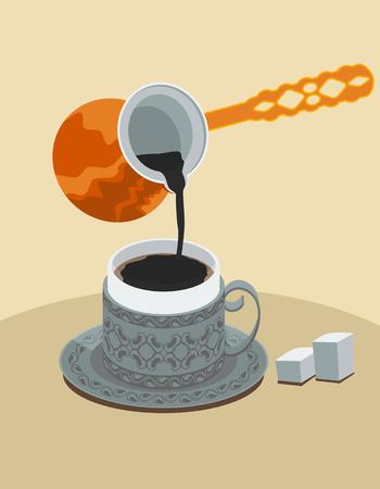 mediterranian style: Turkish Coffee Illustration
