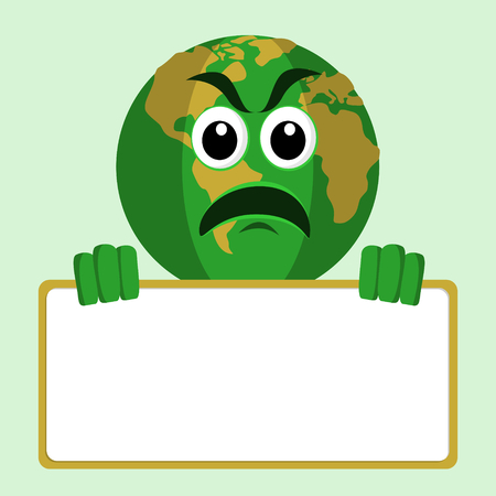 recycling campaign: Earth Character Holding Signboard Illustration