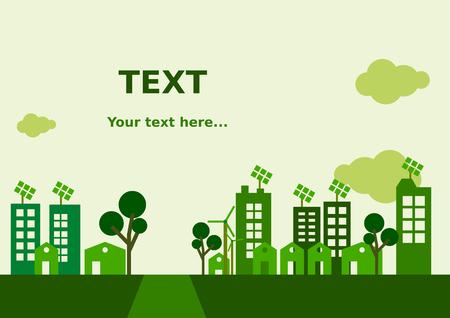 city background: Flat Green City Background Illustration
