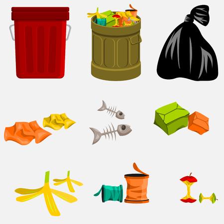 Mülleimer und Müll Vektorgrafik
