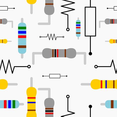 resistor: Resistor Seamless Pattern Illustration